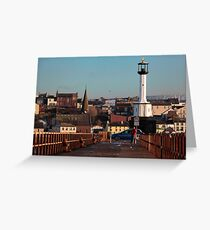 Maryport Harbour Viewed From The Pier Greeting Card