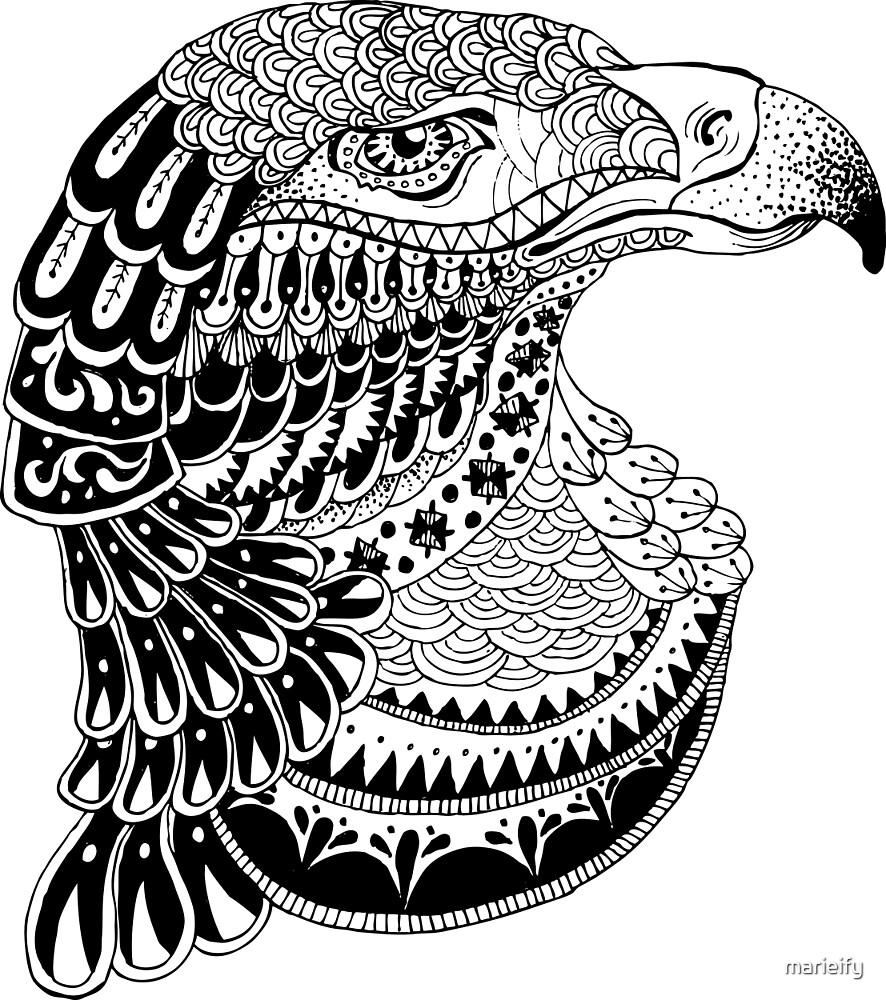 Zentangle eagle portrait. by marieify