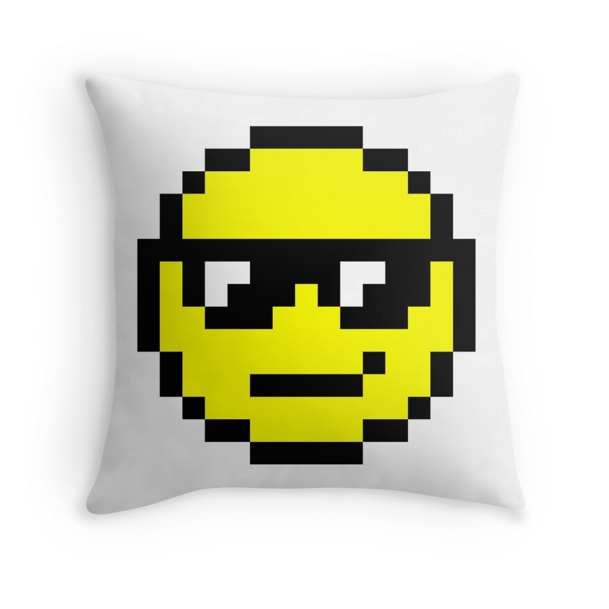 """""""Pixel Art Smiley Face"""" Throw Pillows By Designs-by-jess"""