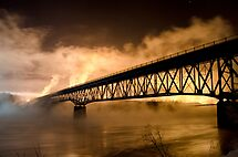 Peace River Bridge Night Shot by peaceofthenorth