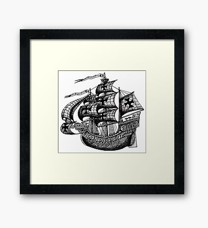 Tall Ship black and white pen ink drawing Framed Print