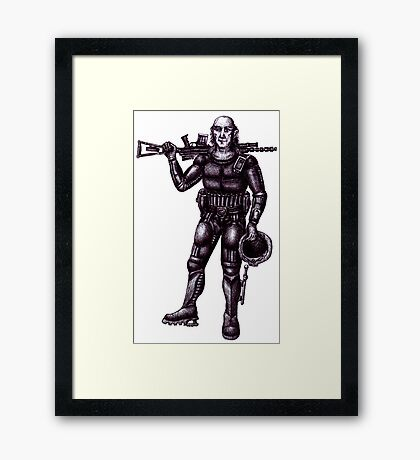 Old Astronaut black and white pen ink drawing Framed Print