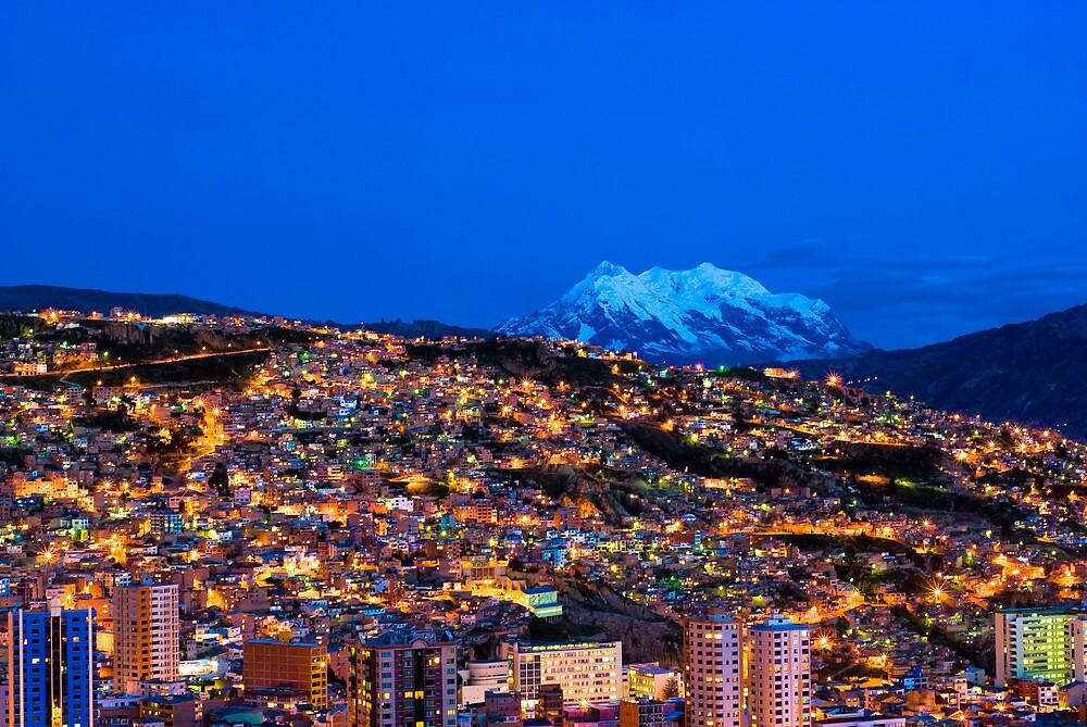 Panorama of La Paz of night, Bolivia by javarman
