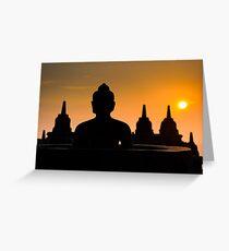 Borobudur temple at sunrise, Java, Indonesia Greeting Card