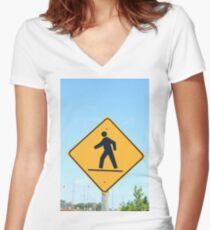Crosswalk Sign Women's Fitted V-Neck T-Shirt
