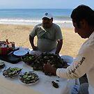 Selling fresh oysters at the beach - Vendiendo ostiones frescos en la playa, Puerto Vallarta, Mexico by PtoVallartaMex