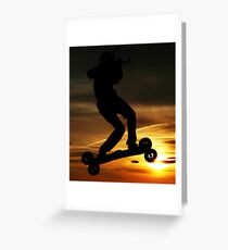 Kiteboarder flying through the Sunset. Greeting Card