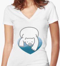 Polar Heart Women's Fitted V-Neck T-Shirt