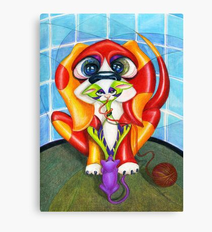 Only the Shadow Knows, dog and cat art, by Alma Lee Canvas Print