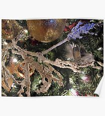 Christmas Season Ornaments ~ Frosty Branches & Gold Baubles w/ Xmas Lights ~ Holiday Season Decorations  Poster