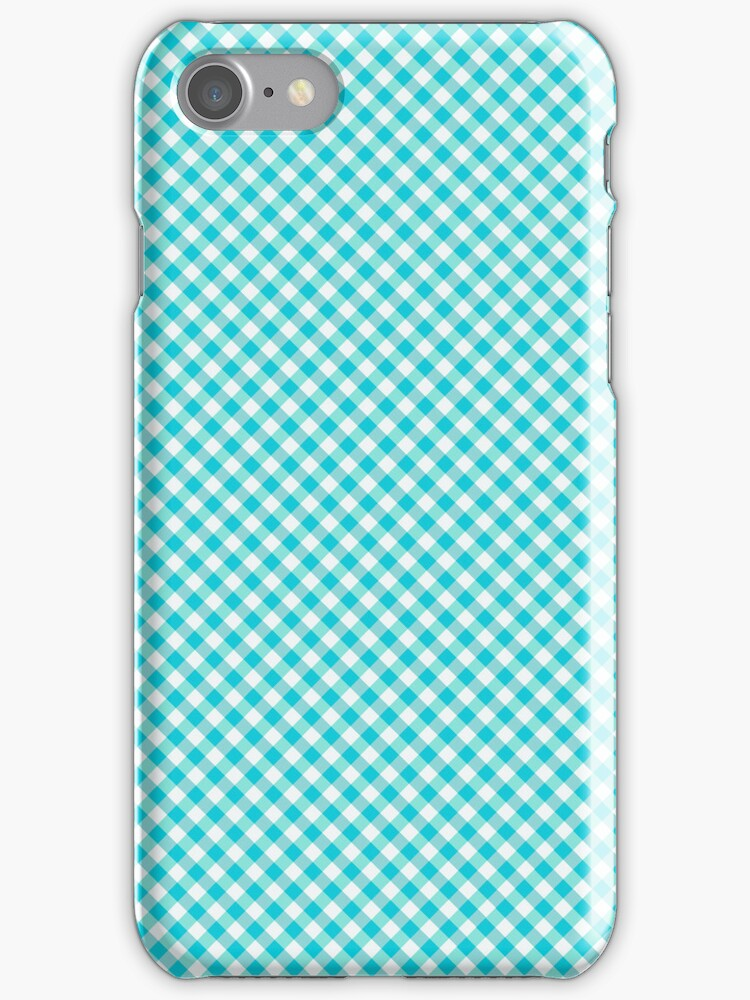 Checkered Blue Gingham iPod Case / Cover / Holder / Protector - Rupydetequila - Baby Blue and Aquamarine Blue by rupydetequila