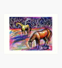 Autumn Morning With Horses Art Print