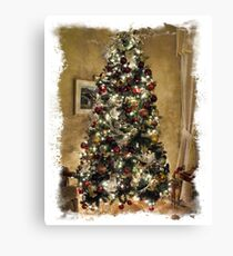 Framed Golden Christmas Scene ~ Decorative  Holiday Tree w/ Shiny Ornaments & Xmas Lights in a Warm Atmosphere Canvas Print