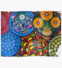 Hand painted plates - Platos pintados a mano, Puerto Vallarta, Mexico Poster