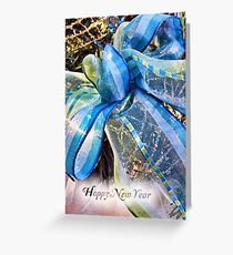 Blue & Silver Christmas Bow w/ Gold Mesh Garland, White Feathers & Xmas Lights ~ Classy New Year Holiday Scene Greeting Card