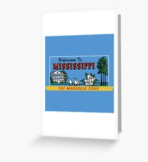 Welcome to Mississippi Sign, Vintage 50s Greeting Card