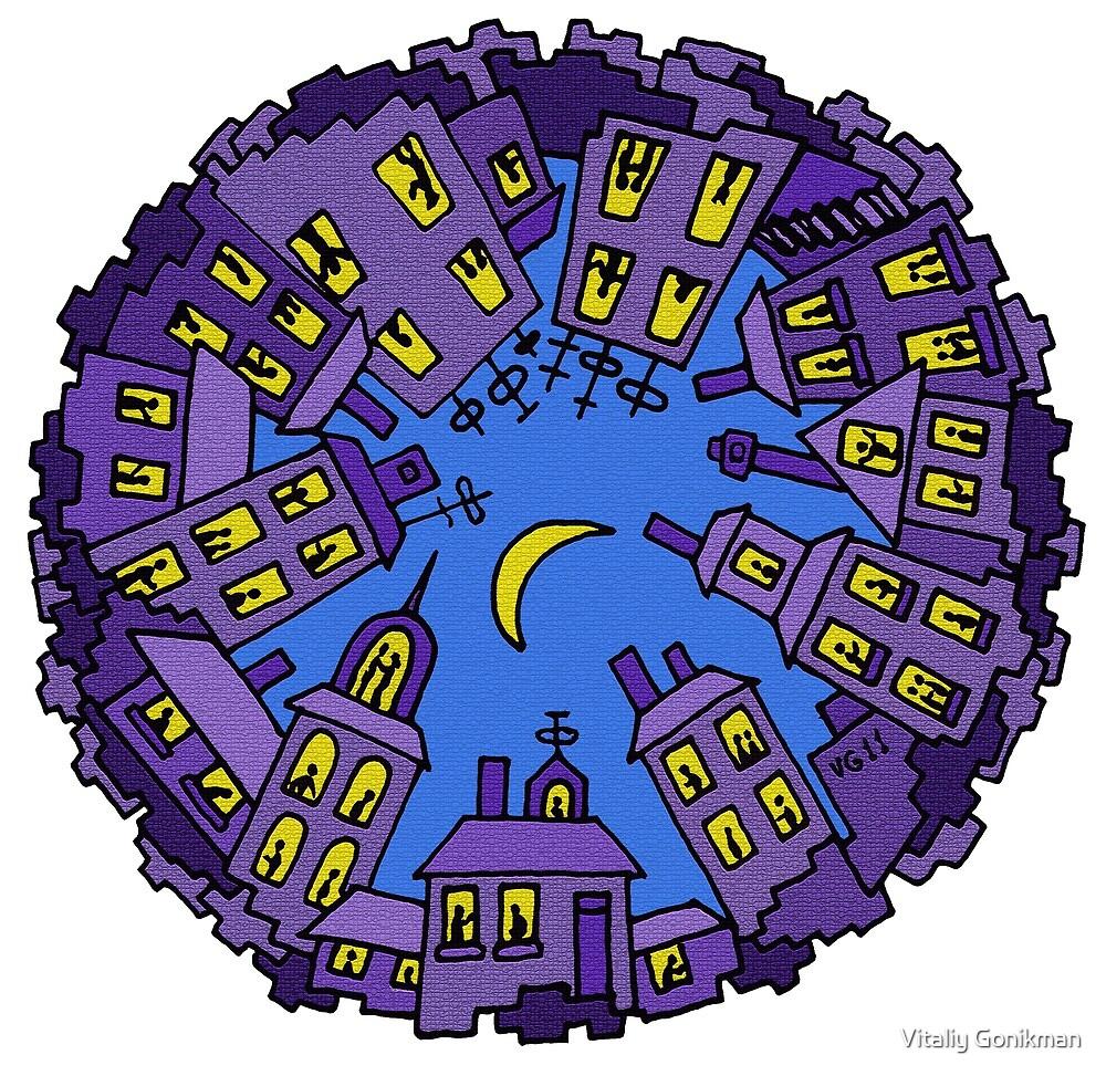 Night City surreal drawing by Vitaliy Gonikman