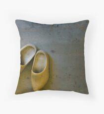 Wooden Clogs Throw Pillow