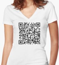 QR Code Quote - Technology Has Exceeded Our Humanity Women's Fitted V-Neck T-Shirt