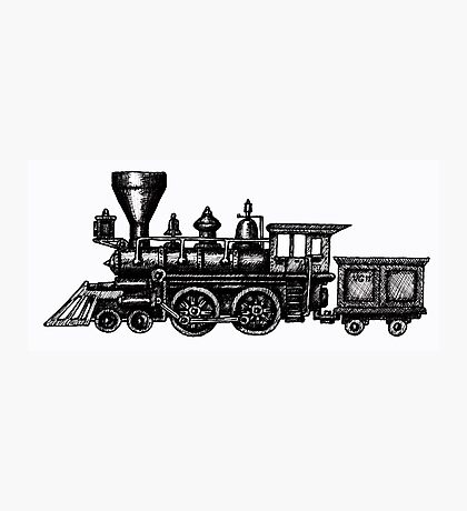Steam Locomotive black and white pen ink drawing Photographic Print
