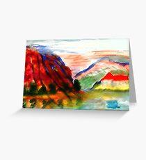 Mountain scene , watercolor Greeting Card