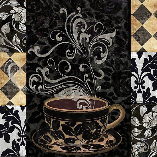 Cafe Noir I Coffee Damask by mindydidit