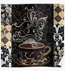 Cafe Noir I Coffee Damask Poster