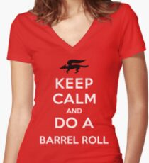 Keep Calm and Do a Barrel Roll Women's Fitted V-Neck T-Shirt