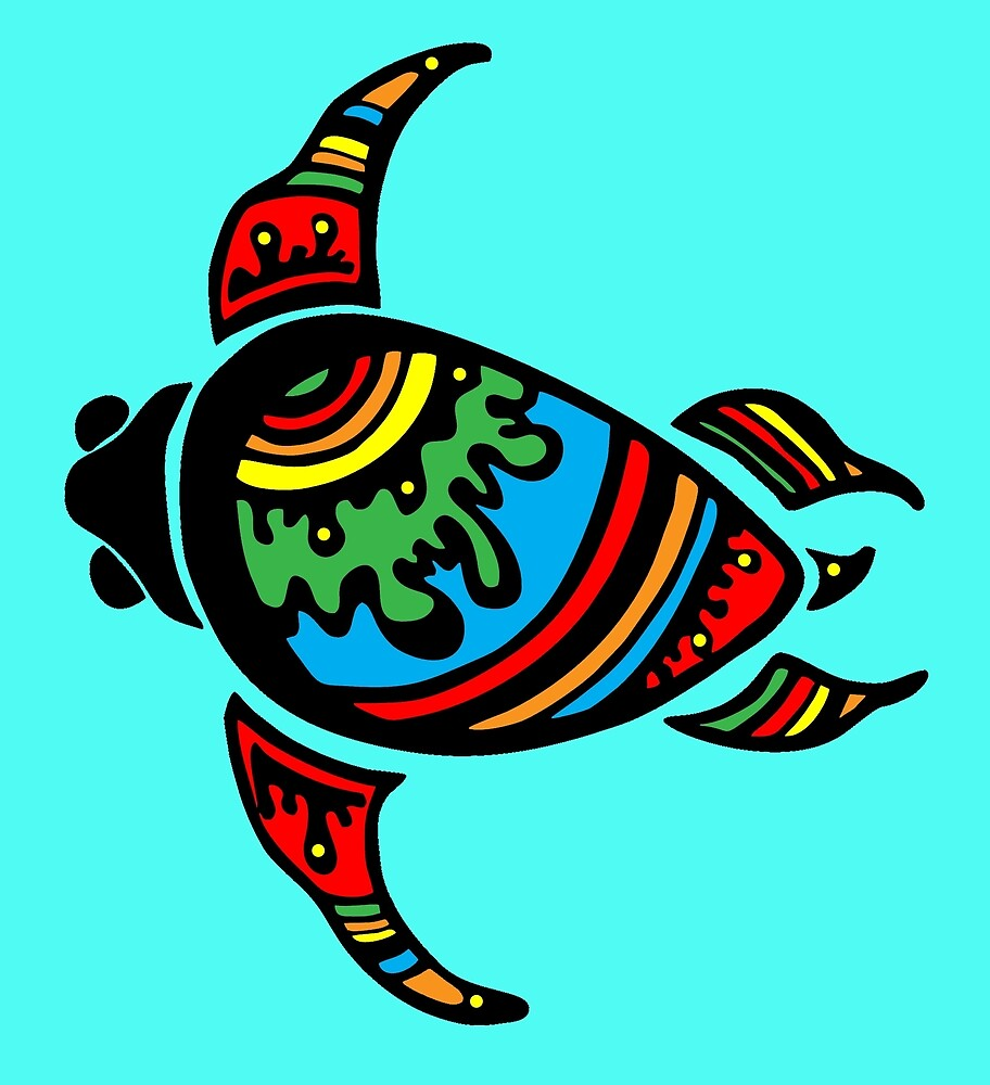 Colorful turtle drawing by mosfunky