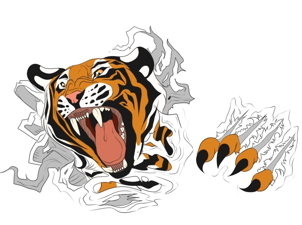 Tiger Ripping Through by AethonGryphon