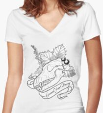 Hollowheart Keep - B&W Women's Fitted V-Neck T-Shirt
