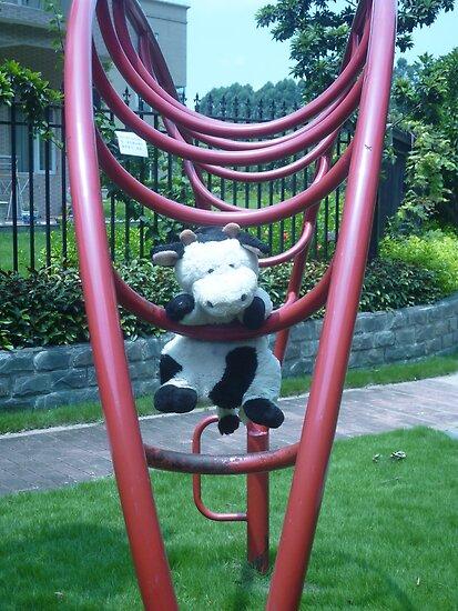 Moo Moo having fun on the monkey bars by Joseph Green