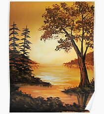 Acrylic - Golden Sunset Poster