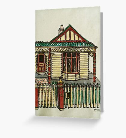 Bijou style house, Melbourne. © Pen and wash on fabric. Greeting Card