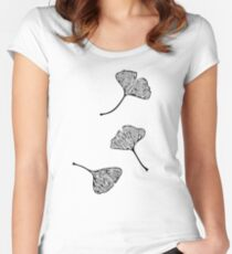 Ginkgo Vector Black on Warm Grey Women's Fitted Scoop T-Shirt