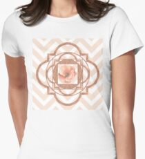 Persian Poppy, Rose Gold Quatrefoil, chevron Womens Fitted T-Shirt
