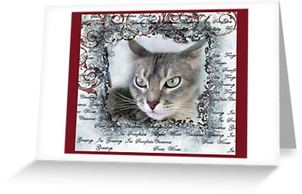 Christmas Cat Greeting Card Plus More! by Susan Werby