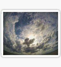 Square sky thru a round lens Sticker