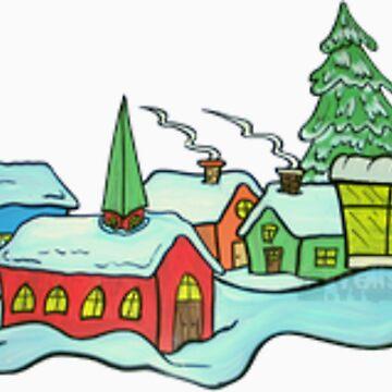 Christmas Village scene_Clip Art by wpbmca