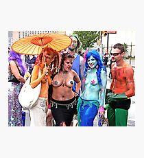 Triple Topless Mermaids Photographic Print