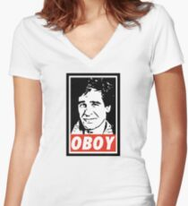 Obeying the Quantum Leap Women's Fitted V-Neck T-Shirt