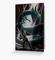knight in battle with giant serpent Greeting Card