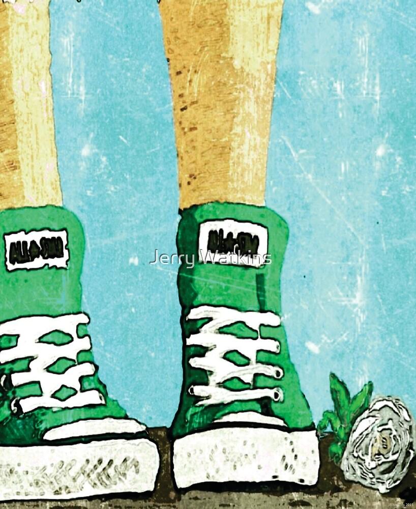 Green Allstars & White Rose by Jerry Watkins