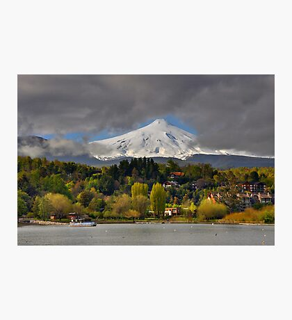 Pucon and Volcano Villarica Photographic Print