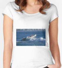 Burleigh Heads - Mowbray Park Surf Boat Crew In Action #1 Women's Fitted Scoop T-Shirt