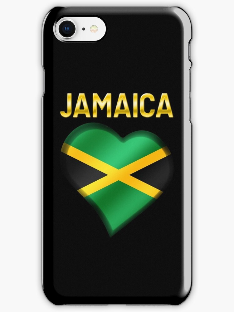 Jamaica - Jamaican Flag Heart & Text - Metallic by graphix