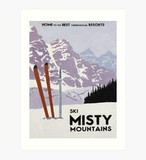 Vintage ski mountain poster Art Print
