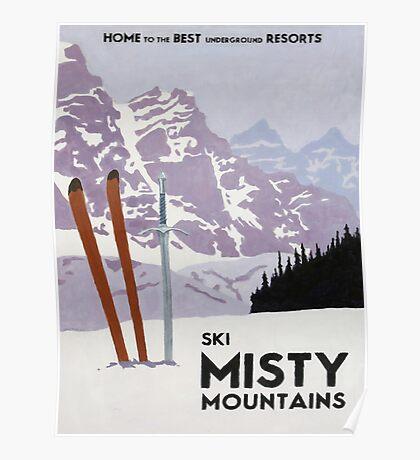 Vintage ski mountain poster Poster