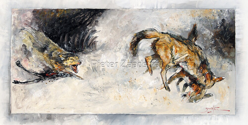 Fighting Jackals in Oil - Africa Series by Pieter Zaadstra