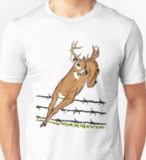 Deer Leaping Barb Wire Fence Unisex T-Shirt
